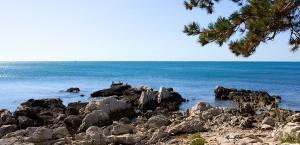 Blick über die Adriaküste von Kroatien in Kroatien
