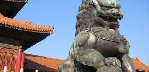 Chinesischer Löwe in der Verbotenen Stadt in Peking
