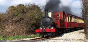 Viktorianische Dampflok auf der Insel Man in Isle of Man