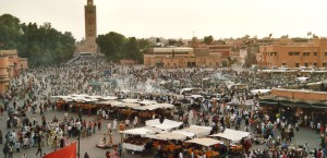 Der Marktplatz Djemaa en Fna in Marrakech in Marrakech