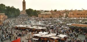 Der Marktplatz Djemaa en Fna in Marrakech in Marrakech