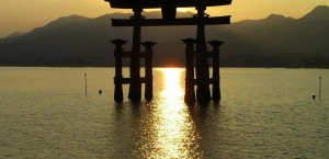 Das Torii des Itsukushima-Schreins in Miyajima, Japan in Japan