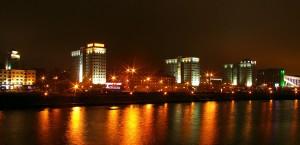 Minsk, Hauptstadt von Belarus, bei Nacht in Belarus