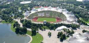 Der Olypiapark von oben in München in München