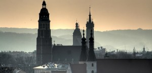 Über den Dächern von Krakau in Polen