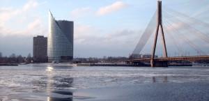Blick auf das winterliche Riga in Lettland