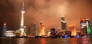 Der Bund von Shanghai, China bei Nacht in Shanghai